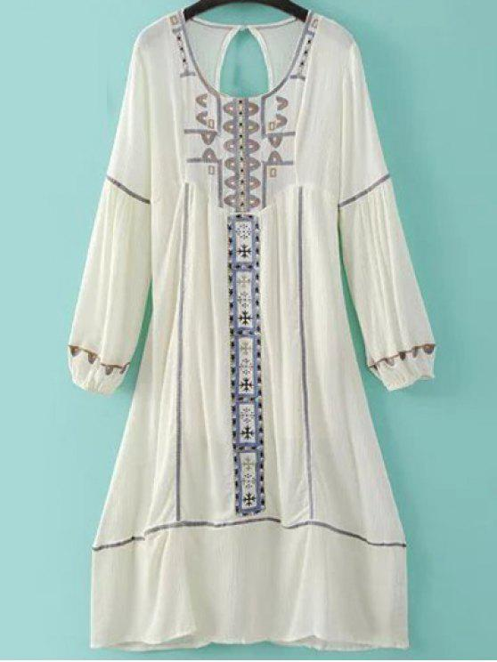 hot Embroidery Scoop Neck Back Cut Out Dress - MILK WHITE L