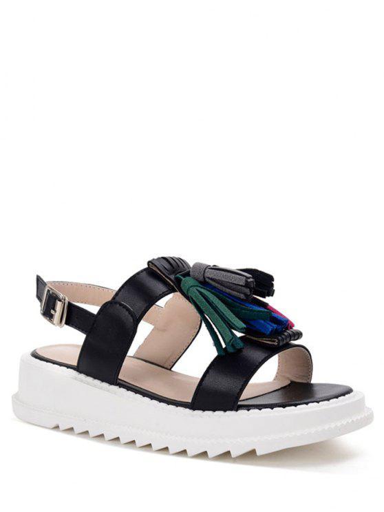 online Tassel Platform PU Leather Sandals - BLACK 39