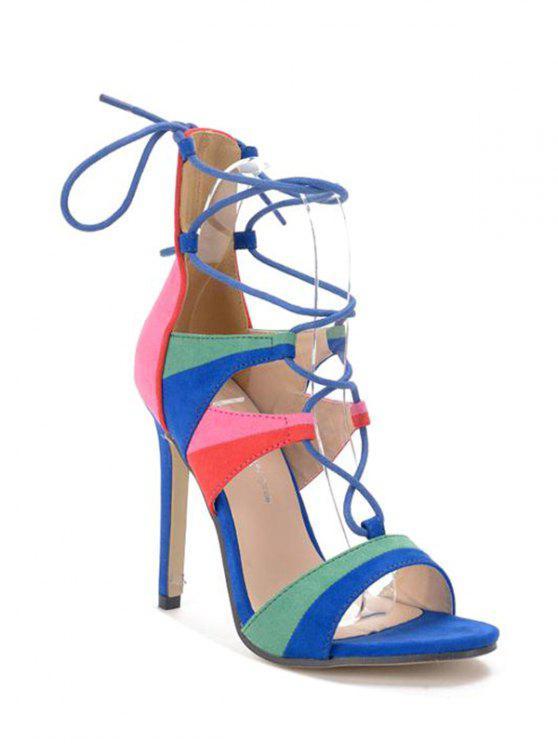 unique Lace-Up Color Block Stiletto Heel Sandals - BLUE 36