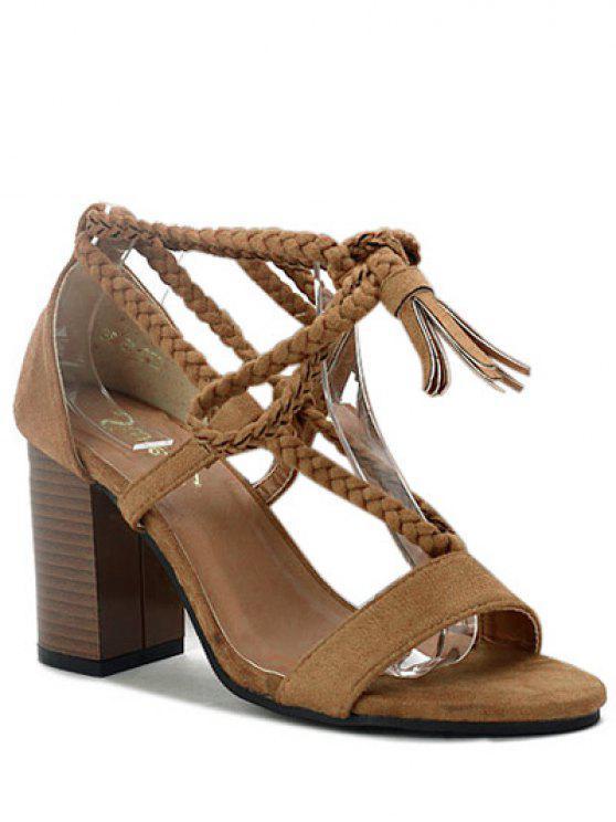 shop Tassel Lace-Up Chunky Heel Sandals - DEEP BROWN 37