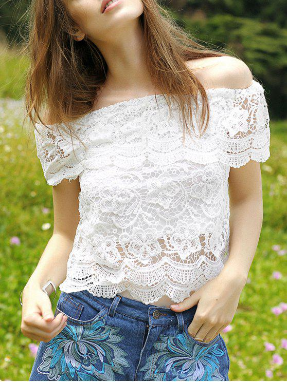 chic Flouncing Spliced Boat Neck Lace Blouse - WHITE S
