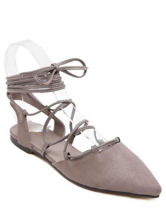 best Pointed Toe Lace-Up Flat Heel Sandals - GRAY 37