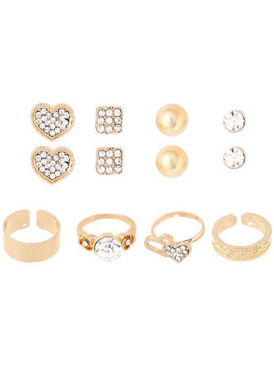 trendy Rhinestone Heart Rings and Earrings - GOLDEN