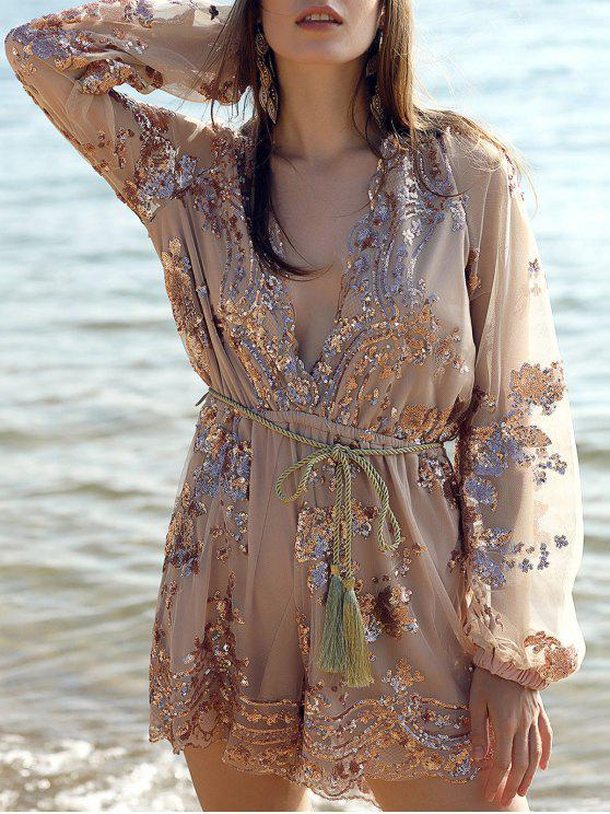 latest Sequins Plunging Neck Long Sleeve Waisted Romper - CHAMPAGNE XS