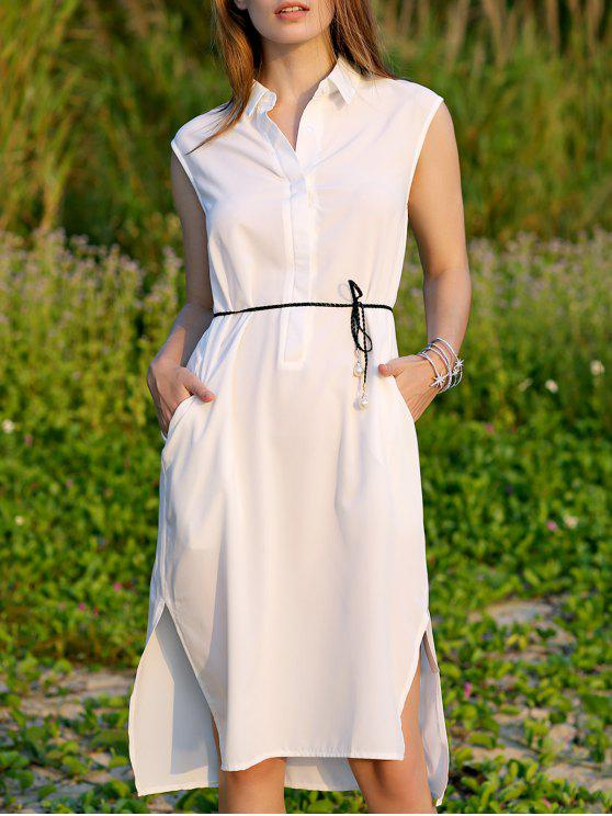 lady Shirt Collar Belted Dress - WHITE M