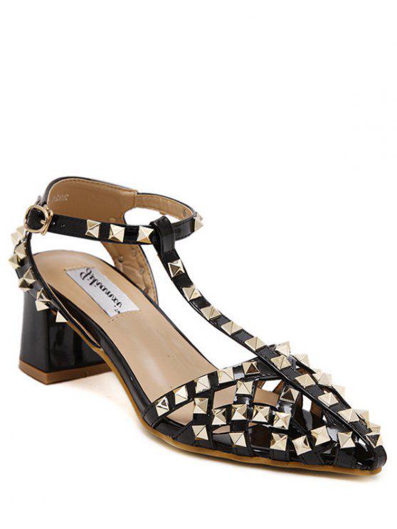 women's Rivet Closed Toe T-Strap Sandals - BLACK 39