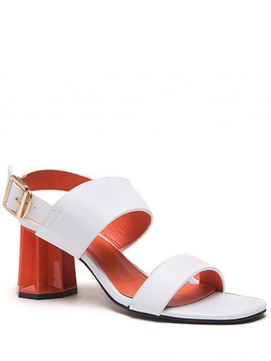 fashion Chunky Heel Buckle Solid Color Sandals - WHITE 37
