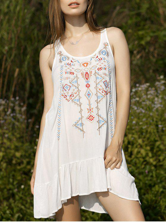 chic Embroidery Scoop Neck Flouncing Dress - WHITE M