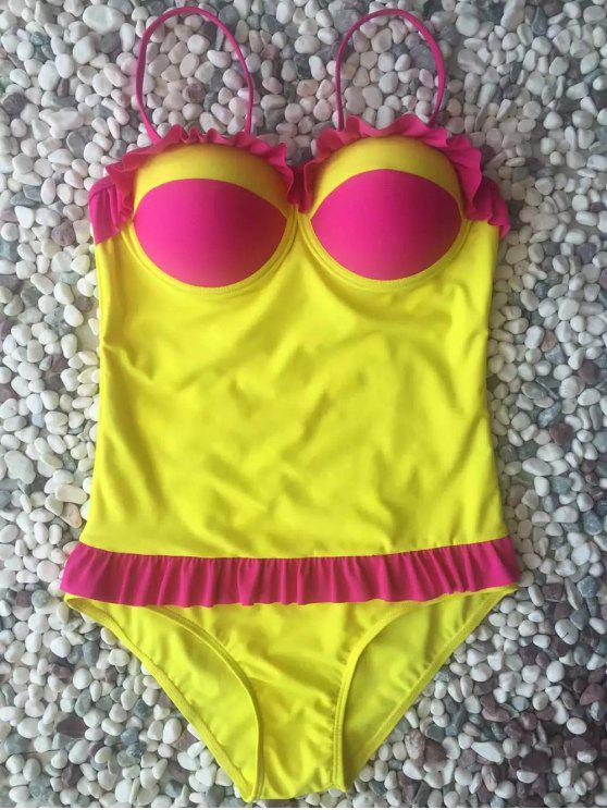 fancy Hit Color Ruffles Cami One-Piece Swimwear - YELLOW L