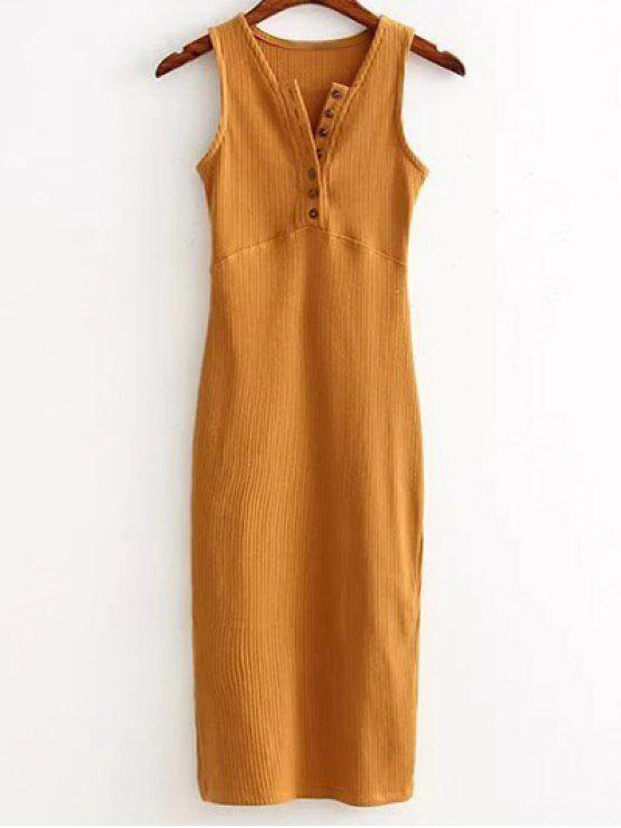 buy Side Slit Ribbed Dress - EARTHY ONE SIZE
