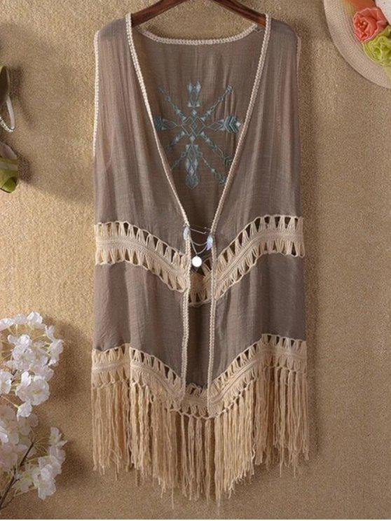 new Tassels Spliced Sleeveless Hollow Out Cardigan - KHAKI ONE SIZE(FIT SIZE XS TO M)