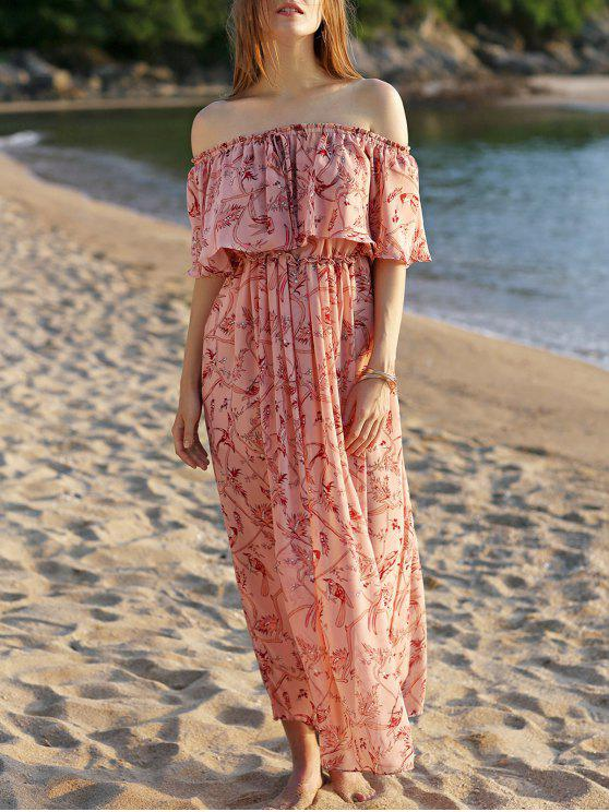 ladies Off The Shoulder Floral Beach Maxi Dress - PINK L