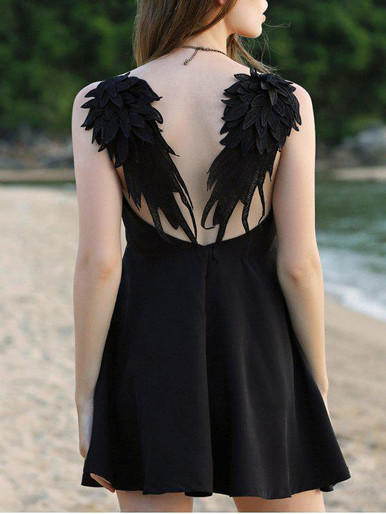 outfits Wing Embroidery Sleeveless Flare Dress - BLACK L