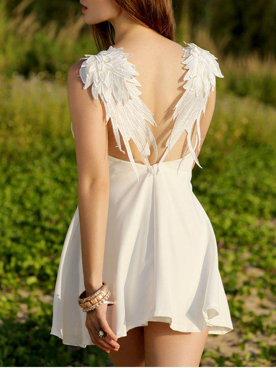 latest Wing Embroidery Sleeveless Flare Dress - WHITE L