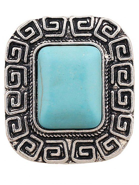 Bague carrée en faux turquoise - Argent