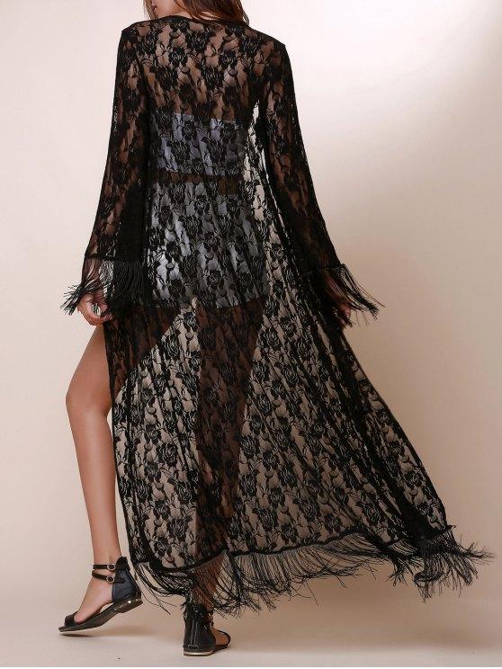 shops Solid Color Fringe Long Sleeve Blouse - BLACK S