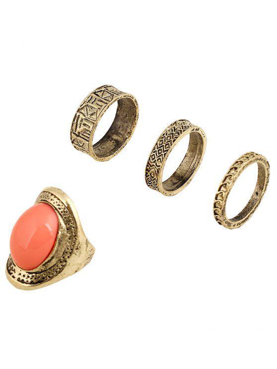 Faux Gema anillos de aleación en relieve - Naranja Rosa
