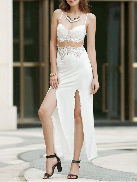 fancy Spaghetti Strap Openwork Lace Splicing Slit Dress - WHITE L