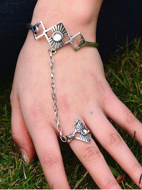 latest Hollowed Rhombus Opening Bracelet with Ring - SILVER