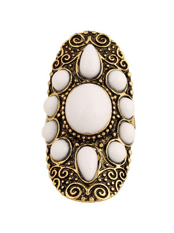 ladies Faux Gem Oval Embossed Ring - GOLDEN