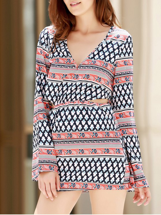 hot Plunging Neck Printed Long Sleeve Dress - COLORMIX S
