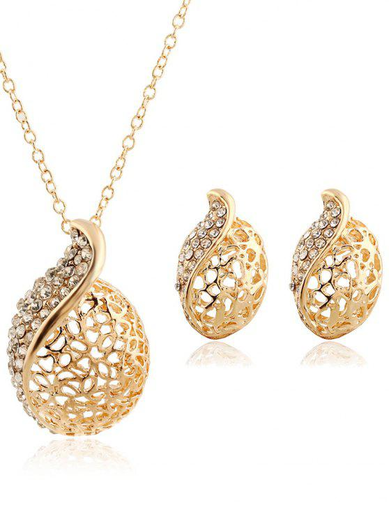 shop Rhinestone Hollowed Necklace and Earrings - GOLDEN