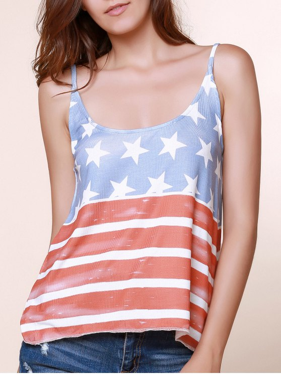 trendy Spaghetti Straps American Flag Tops - BLUE AND RED S