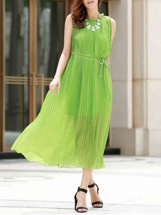 trendy Pleated Rope Belt Sleeveless Dress - GREEN S