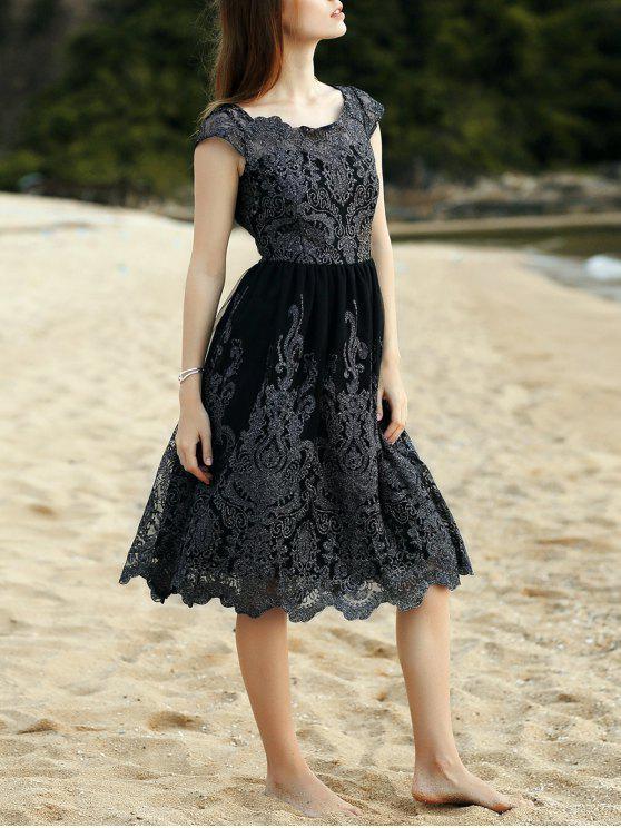 new Lace Scoop Neck Short Sleeve Midi Dress - BLACK XL