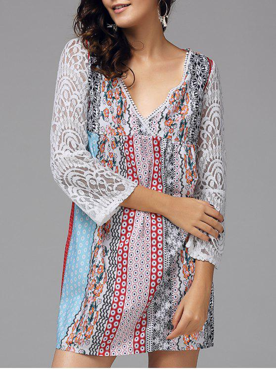 outfit Floral Lace Panel Bohemian Tunic Dress - COLORMIX L
