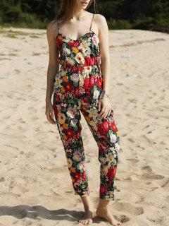 Red Floral Print Cami Jumpsuit - Red S