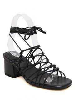 Lace-Up Strappy Chunky Heel Sandals - Black 36
