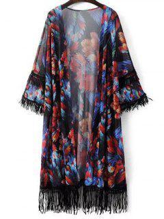 Tassels Spliced Floral Print 3/4 Sleeve Cardigan - Black
