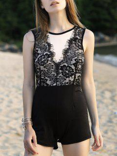 Lace Spliced Round Neck Sleeveless Romper - Black S