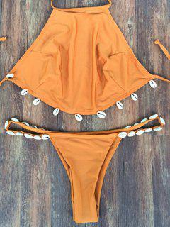 Backless Shelled Halter Bikini Set - Wheat S