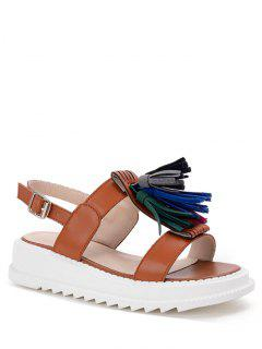 Tassel Platform PU Leather Sandals - Light Brown 36