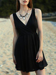 Cruzado Con Cuello En V Sin Mangas Vestido Del Color Sólido - Negro S