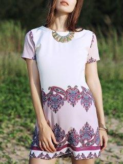 Retro Print Round Neck Short Sleeve Dress - S