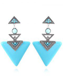 Faux Gem Triangle Earrings - Peacock Blue