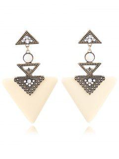 Faux Gem Triangle Earrings - White