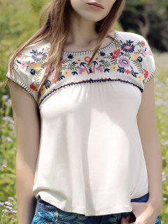 Flower Embroidered Square Cut T-Shirt - Off-white S