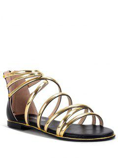 Zip Straps Flat Heel Sandals - Black 36