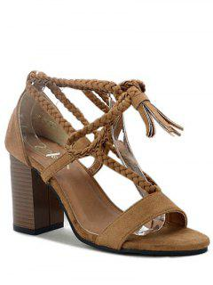 Tassel Lace-Up Chunky Heel Sandals - Deep Brown 36