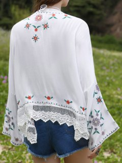 Floral Broderie à Manches Longues Kimono Blouse - Blanc M