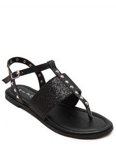 Sequined Rivet Flat Heel Sandals - Black 36