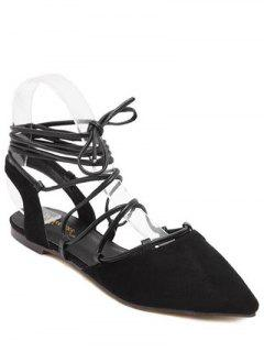 Pointed Toe Lace-Up Flat Heel Sandals - Black 36