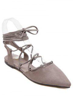 Pointed Toe Lace-Up Flat Heel Sandals - Gray 36