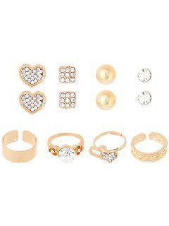 Rhinestone Heart Rings And Earrings - Golden