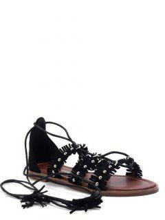 Fringe Cross-Strap Flat Heel Sandals - Black 36