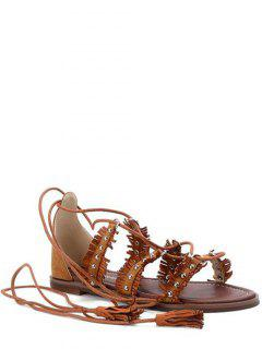 Fringe Cross-Strap Flat Heel Sandals - Brown 36